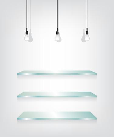 glass shelves: Glass shelves and bulb Illustration