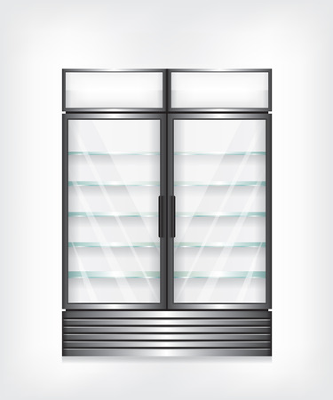 cooler: Commercial refrigerator with two door and glass shelves