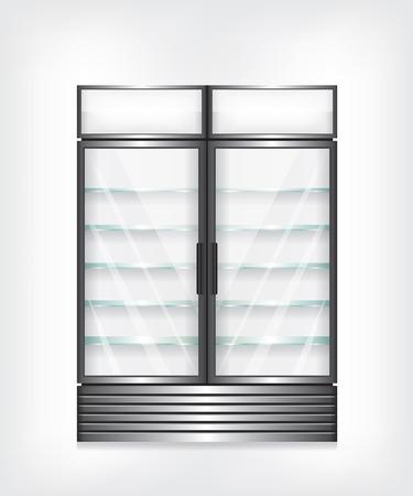 Gewerbe Kühlschrank mit zwei Türen und Glasböden Standard-Bild - 43827973