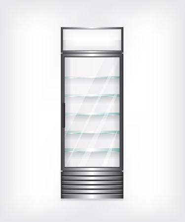 cooler: Refrigerator with glass shelves Illustration
