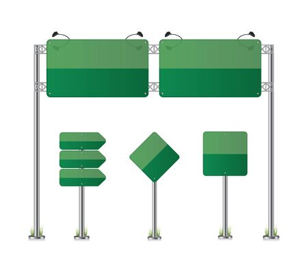 Road signs set green illustration
