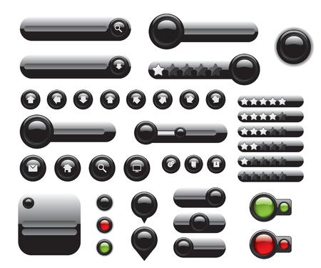 Web elements set black buttons Illustration