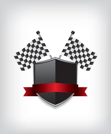 escudo: Competir con indicadores y el escudo negro Vectores