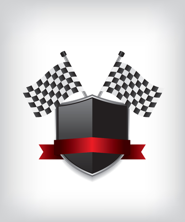 shield: Racing flags and black shield
