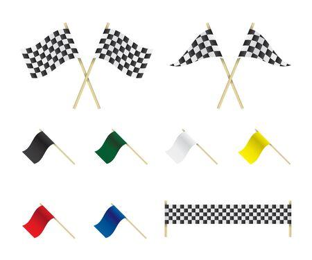 white flag: Racing flags set illustration
