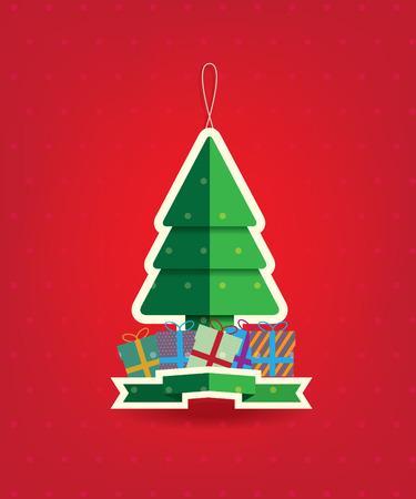 christmas gifts: Christmas tree and gifts illustration