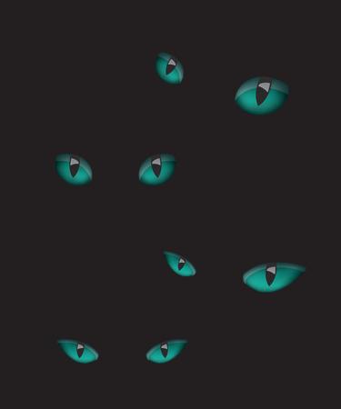 ojos negros: ojos de gato en la oscuridad ilustración