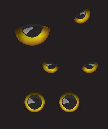 dark eyes: Owl eyes in the dark Illustration