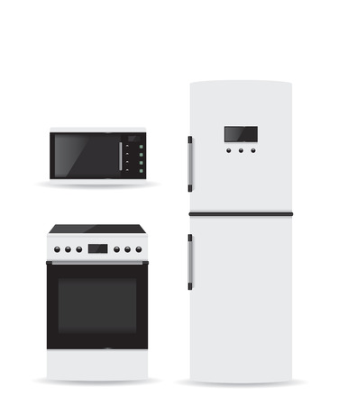 microwave stove: Set of household appliances Microwave refrigerator and stove Illustration