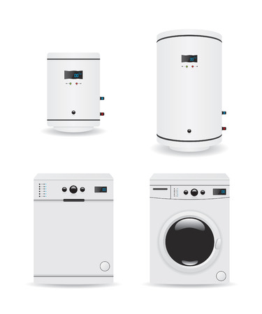 water heater: Set of household appliances  boiler and washing machine Illustration