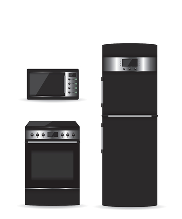 cold storage: Set of black household appliances Microwave refrigerator and stove