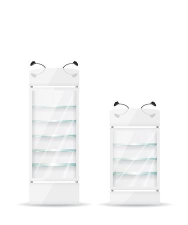 vertical fridge: White refrigerator with glass shelves Illustration