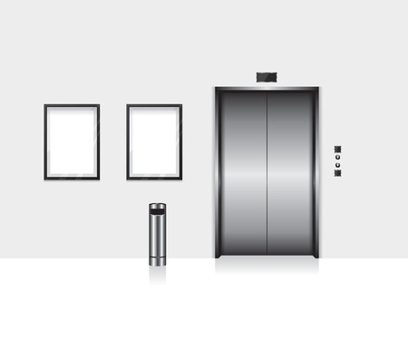 lift gate: Elevator with closed door illustration