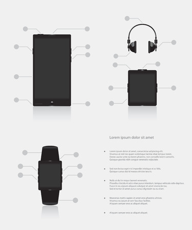 music player: Set of gadgets electronic devices mobile phone smart watch music player