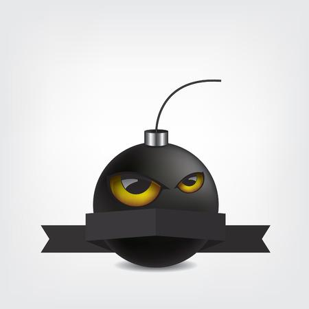demolition: Bomb cartoon with eyes and ribbon