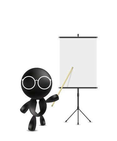 projection screen: Businessman pointing at blank projection screen banner Illustration