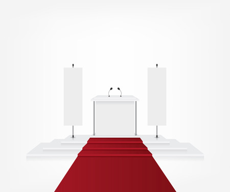 award ceremony: Podium with red carpet for award ceremony and flag banner