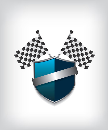 Racing flags and blue shield