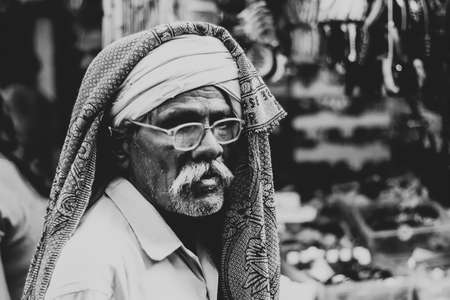 maniac: Old Indian homeless Editorial