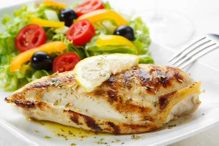 breasts: roasted chicken breast with salad