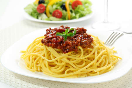 home made spaghetti with meat bolognese photo