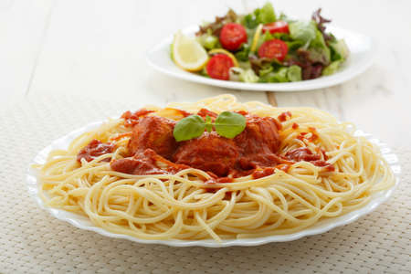 chicken meatballs with spaghetti photo