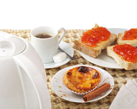 nata: Portuguese  Europe  traditional Cake  pastel de nata  - cream cake on a table with milk coffee and jam toast