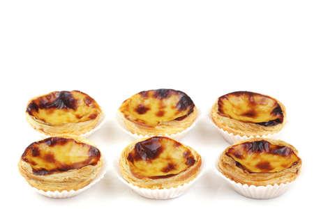 nata: traditional portuguese cream cakes  pasteis de nata  isolated on white