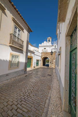 old village street in Faro, Algarve, Portugal photo