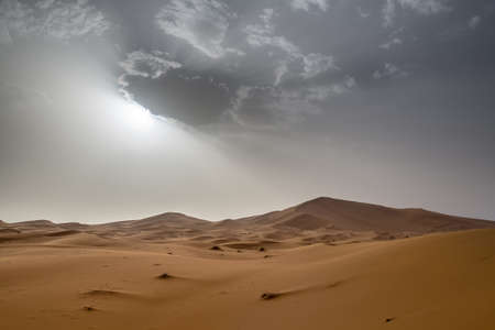 in the sand: view of Erg Chebbi Dunes in Morocco-  Sahara Desert - during sand storm