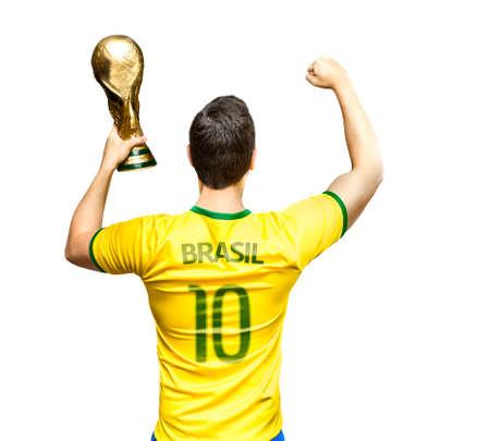 futball: Brazilian fan celebrates om white background