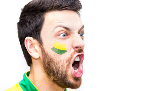 futball: Brazilian fan on white background