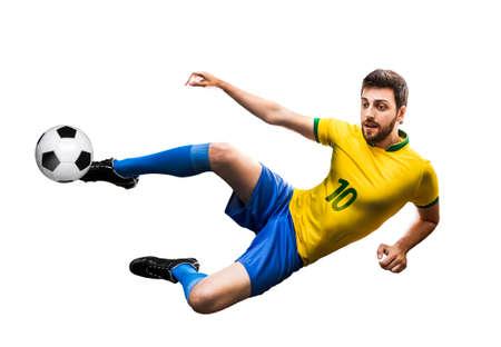 futball: Brazilian fan kicking the ball on white background