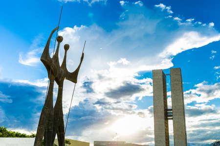 law of brazil: BRASILIA, BRAZIL - CIRCA MARCH 2015: Two Candangos in Brasilia, Brazil