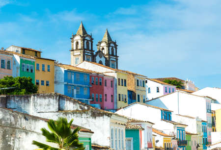 urban city: Colonial houses in Salvador, Bahia, Brazil