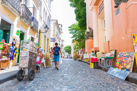 traditionally american: People walk in Pelourinho area, famous Historic Centre of Salvador, Bahia in Brazil