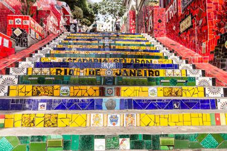 rio de janeiro: Colorful mosaic tile stairway in Lapa, Rio de Janeiro