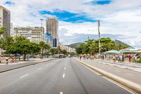 rio de janeiro: The famous Atlantic Avenue in Copacabana, Rio de Janeiro, Brazil