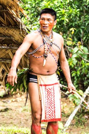 native culture: Indian tribe ritual in Amazon, Brazil