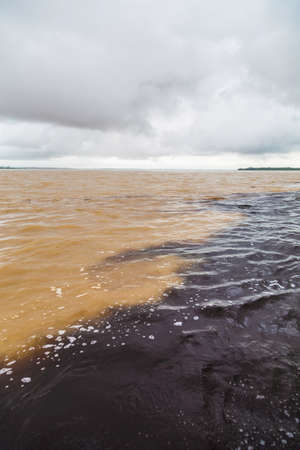 rio amazonas: The meeting of waters, a confluence between Rio Negro and the Amazon river
