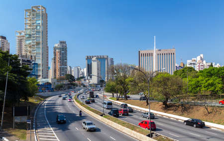 highway traffic: The highway and business center in Sao Paulo, Brazil