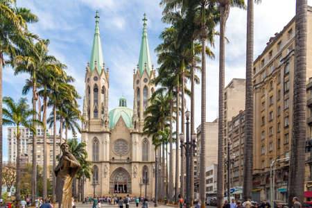 se: Amazing view of Se Cathedral in Sao Paulo, Brazil