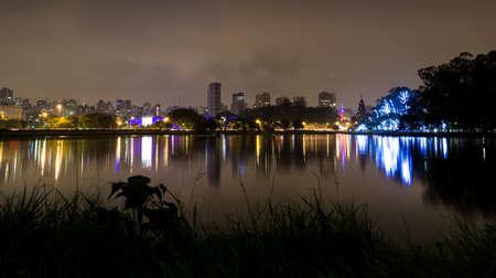 Ibirapuera Park at night, Sao Paulo, Brazil Stock Photo