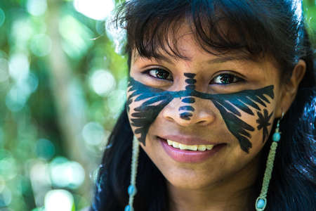 native american girl: Brazilian indian cute girl in Amazon, Brazil