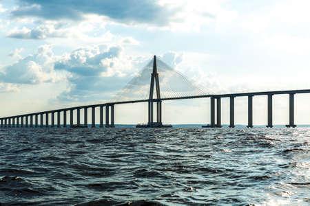 straddle: Rio Negro Bridge in Manaus, Brazil Amazon Stock Photo