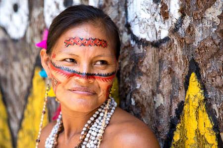 brazilian woman: Native Brazilian woman at an indigenous tribe in the Amazon