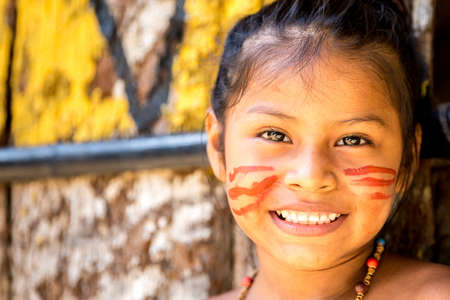 native indian: Cute Brazilian indian girl in Amazon, Brazil