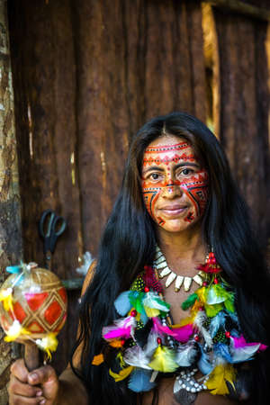 native american girl: Native Brazilian woman at an indigenous tribe in the Amazon