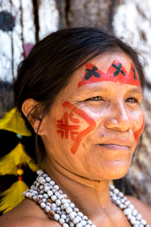 indigenous: Native Brazilian woman at an indigenous tribe in the Amazon