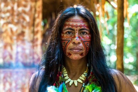 tribal woman: Native Brazilian women at an indigenous tribe in the Amazon